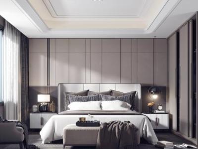 现代卧室3D模型【ID:434935359】