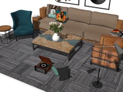 北欧风格沙发茶几组合SU模型下载【ID:726658609】