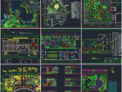 31套屋顶花园 天台景观花园CAD平面图库施工图下载
