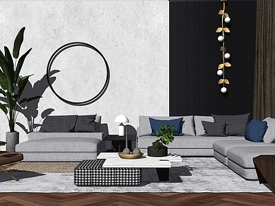 现代简约轻奢客厅沙发SU模型