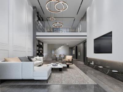 现代挑空别墅客厅餐厅 吊灯 沙发 茶几 餐桌椅 书架