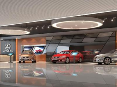 现代汽车展厅 汽车 吧台