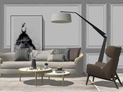 现代轻奢沙发组合沙发SU模型下载【ID:731502671】