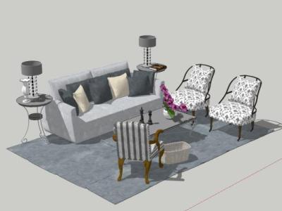 美式乡村田园风沙发茶几椅子组合SU模型下载【ID:731312673】