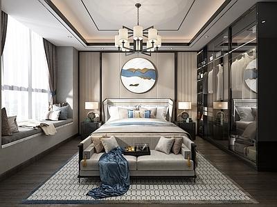新中式卧室3d模型下载【ID:434908337】