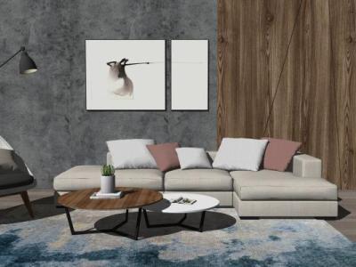 现代客厅沙发茶几组合SU模型下载【ID:728792674】