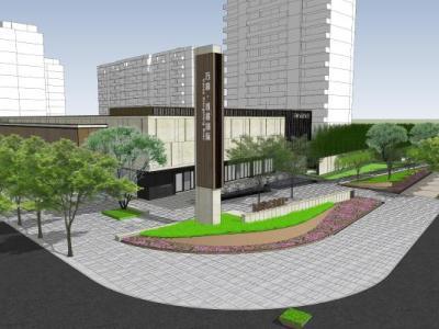新中式售楼处景观方案入口景观+售楼处大水景SU模型下载【ID:525766450】
