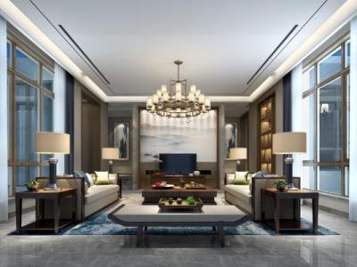 【现代中式】600㎡新中式别墅丨效果图+3D模型+施工图+电气图+智能化控制图施工图下载