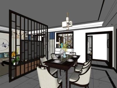 新中式客厅及其卧室SU模型下载【ID:932516813】