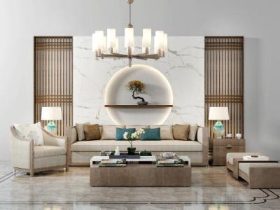新中式沙发茶几背景墙吊灯摆件组合