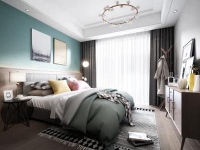 北欧卧室,床3d模型下载【ID:429986323】