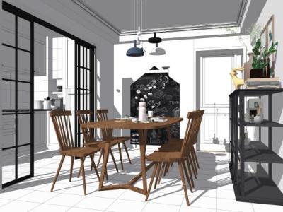 北欧现代厨房餐厅SU模型下载【ID:528818349】