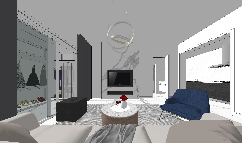精品免费现代简约单身公寓客厅SU模型下载【ID:917993865】