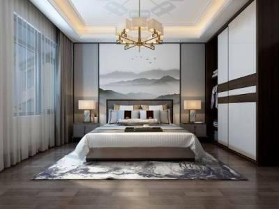 新中式卧室 吊灯 双人床 台灯 衣柜