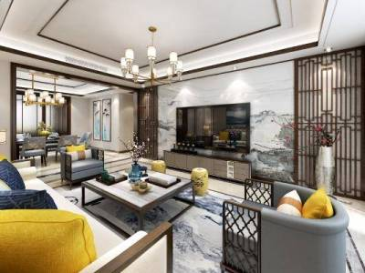 新中式客餐厅 吊灯 台灯 多人沙发 单人沙发 茶几 装饰柜 挂画 餐桌椅 酒柜