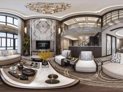 新中式时尚高端别墅客餐厅 沙发茶几 餐桌椅 客厅 吊灯 挂画 玄关