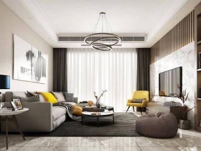现代客厅餐厅 沙发组合 酒柜 鞋柜 吊灯 餐桌 挂画 装饰品