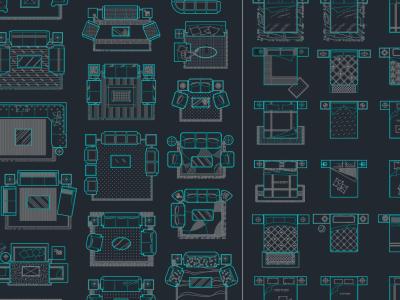 包含CAD制图全部要用到的平面和立面-沙发-床-门-窗-卫生间-人物-五金-汽车施工图下载