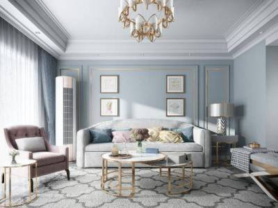 简美轻奢 美式 轻奢客厅 沙发 灯具