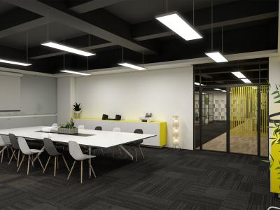 现代风办公室会议室玻璃隔间工位