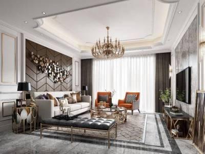 欧式客厅 沙发 吊灯 台灯 茶几 电视柜 挂画 装饰品 窗帘 地毯