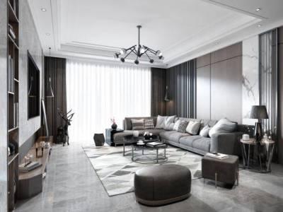 现代客厅 沙发组合 吊灯 台灯 茶几 电视柜 装饰品 窗帘 地毯 挂画