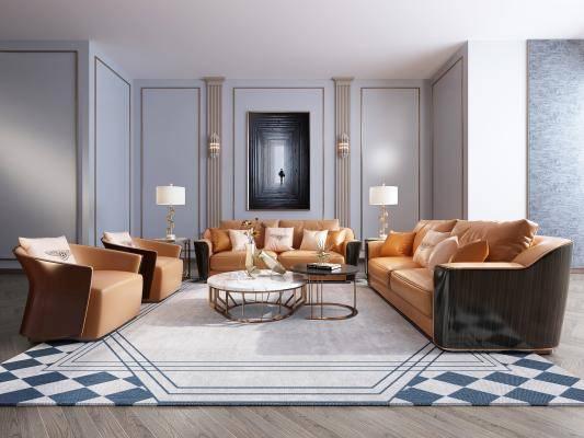 现代港式沙发茶几组合3d模型下载【ID:121235013】