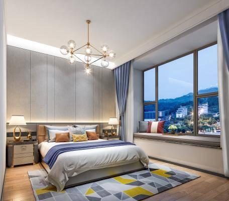 后现代卧室 样板间 床 床头柜 台灯 吊灯 硬包  飘窗 抱枕装饰组合