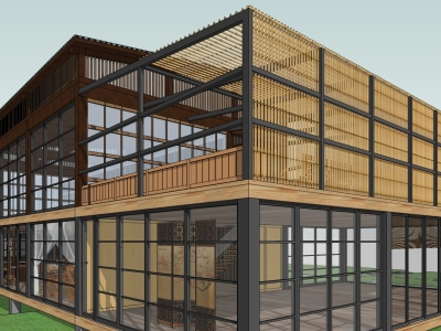 现代简约风格精品茶室精细sketchup建筑模型SU模型下载【ID:421832340】