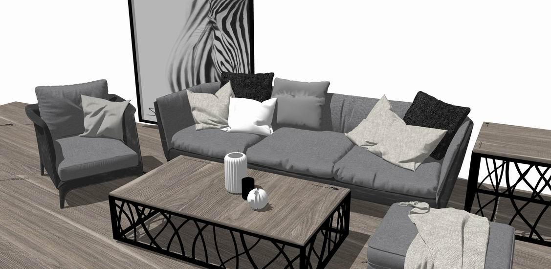 现代灰调沙发组合SU模型下载【ID:921976873】