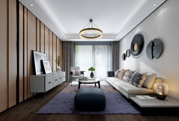 壹舍设计 现代客厅 沙发茶几 吊灯 桌面摆件 墙饰品