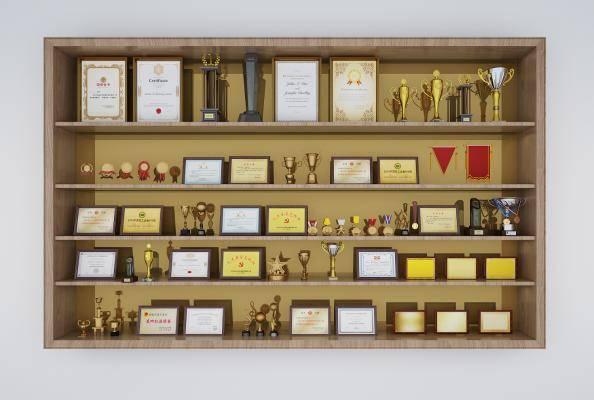 现代奖杯 奖牌 锦旗 摆件 奖状 装饰品 徽章