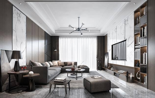 现代客厅 沙发 茶几 吊灯 电视 电视柜 装饰品 挂画 地毯 台灯 窗帘