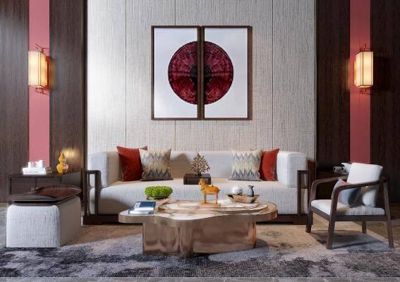 新中式沙发摆件挂画茶几组合3d模型下载【ID:122149030】