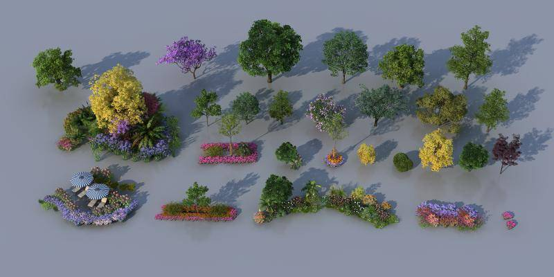 现代植物 树 花卉 景观小品 园森景观 植物组合 景观组合 树木 大树