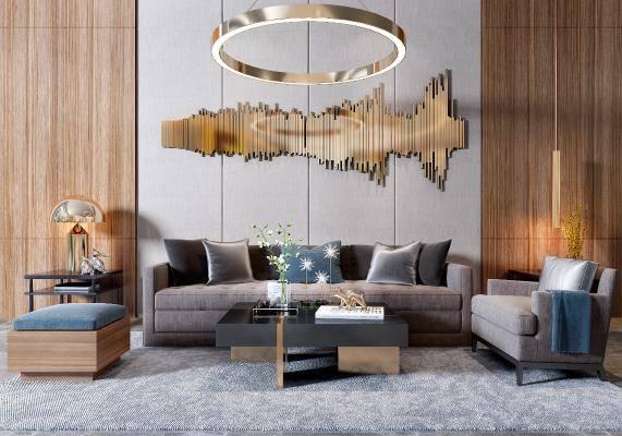 现代沙发茶几挂件吊灯摆件组合