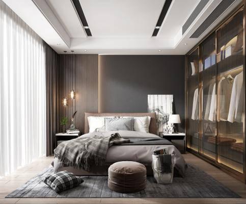 现代卧室 床具 吊灯 台灯 挂画 电视 装饰品 床头柜 装饰品 窗帘