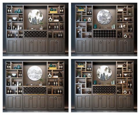 新中式酒柜 酒柜 装饰品
