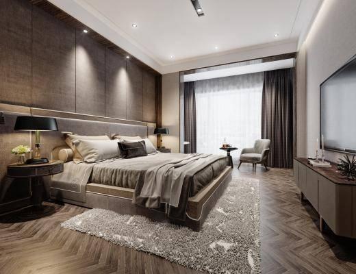 现代灰色卧室 床头柜 台灯 电视柜 床具 休闲椅