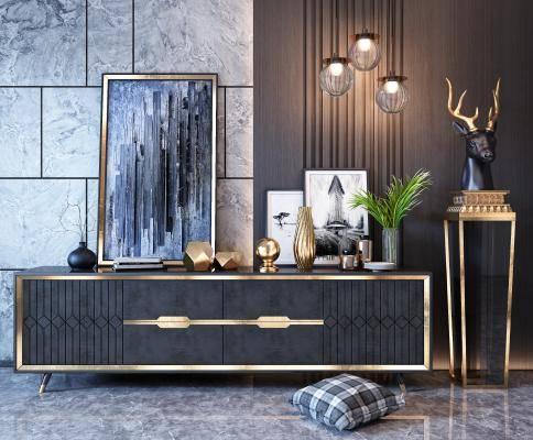 现代电视柜 电视柜 挂画 装饰品