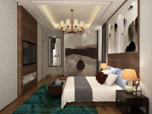新中式卧室主人房 双人床 床头柜 电视柜 吊灯 挂画