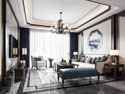 新中式客厅 沙发 茶几 吊灯 装饰品 窗帘 地毯 台灯 电视柜