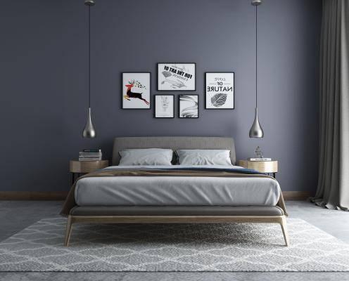 现代北欧卧室双人床3d模型下载【ID:723421088】