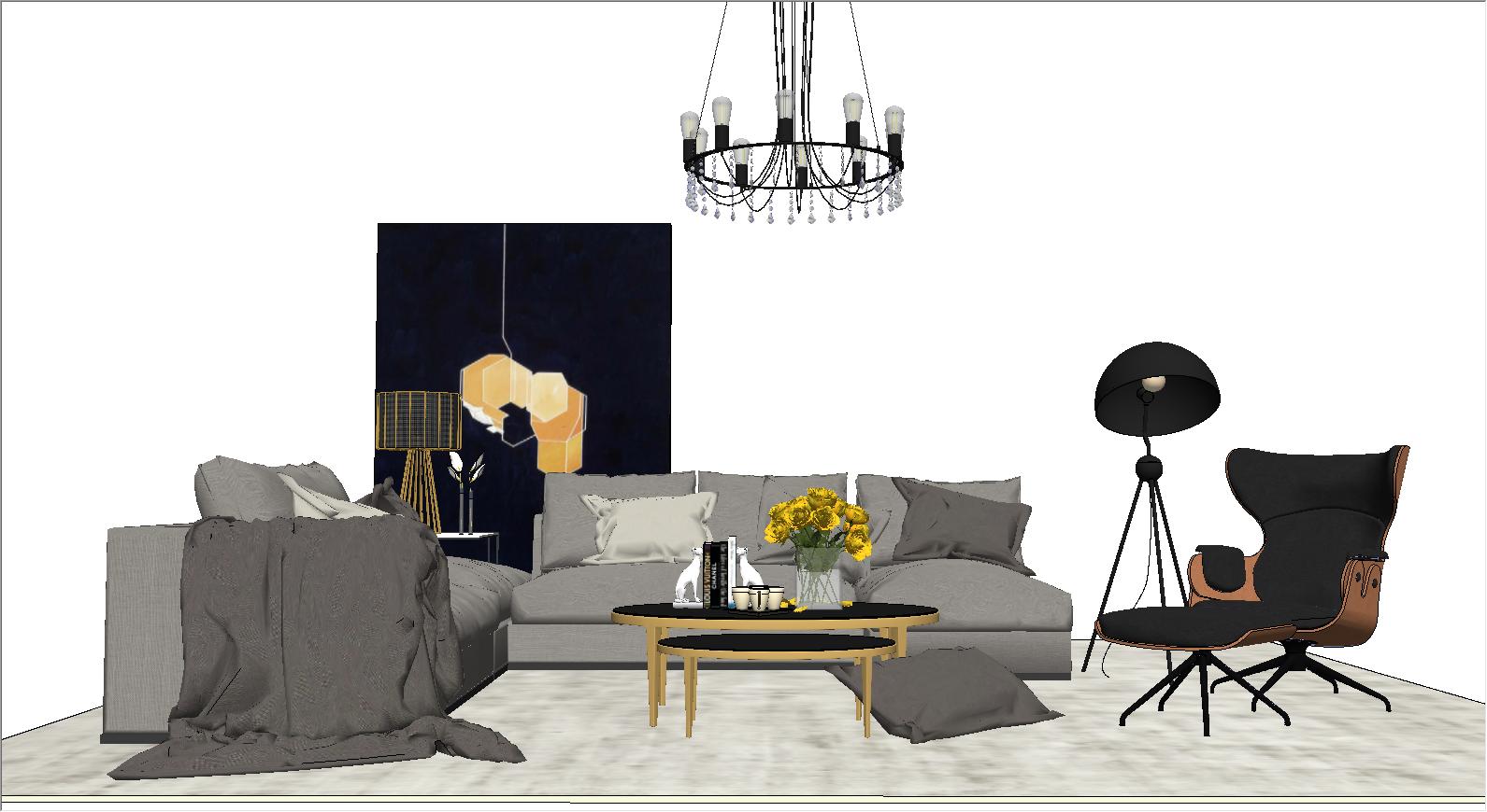 现代轻奢客厅家具组合SU模型下载【ID:623435011】