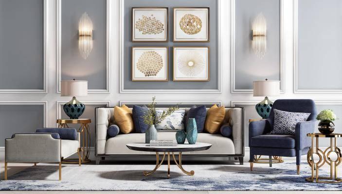 后现代沙发组合 现代沙发茶几 单椅 单人沙发 装饰画 壁灯 台灯 地毯