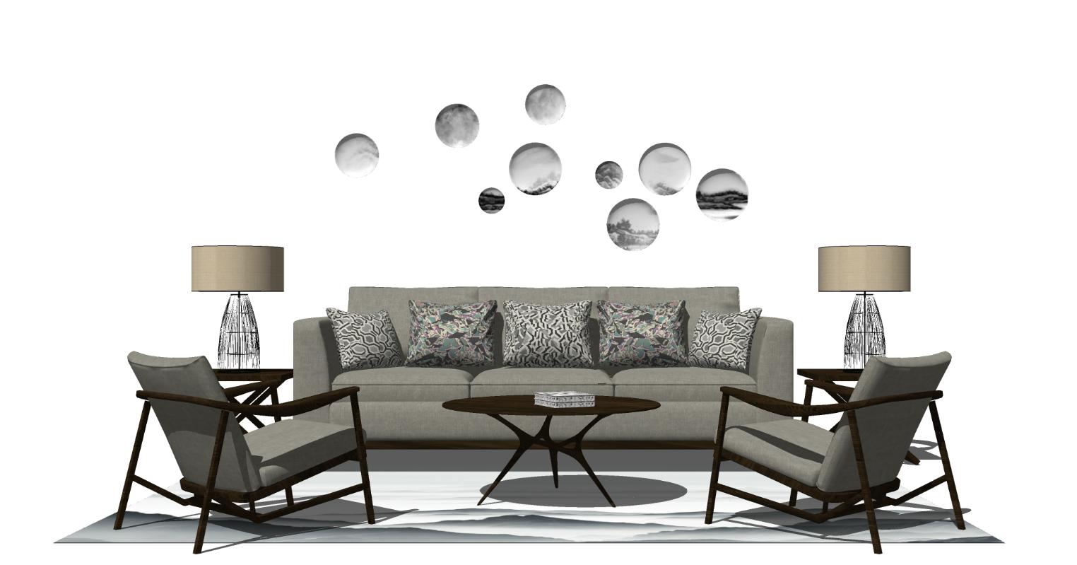 现代新中式茶几沙发组合挂件SU模型下载【ID:723529676】