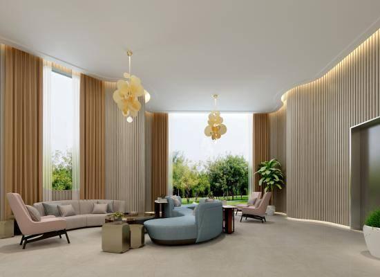 现代风格月子中心大厅 母婴 沙发 植物 现代金属吊灯 吧台