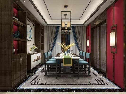 新中式客厅 餐厅 酒柜
