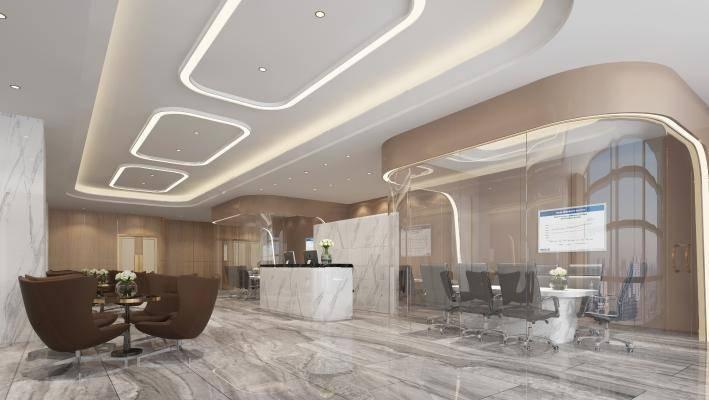 现代办公室 前台 前厅 大厅 接待区 接待厅大堂 接待台 会议室 办公桌椅