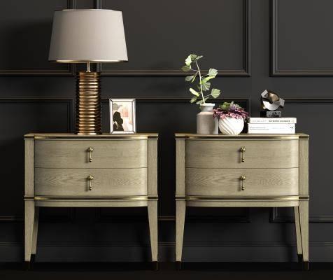 新中式实木床头柜台灯饰品组合